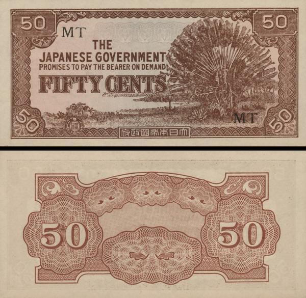 50 Centov Malajsko 1942 M4 japonská okupácia