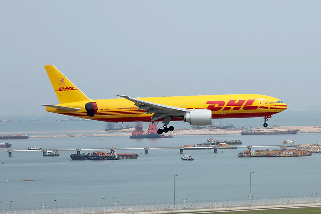 AeroLogic - DHL B777-200F D-AALL landing HKG/VHHH