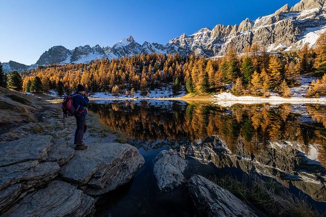 Photographe au lac Miroir