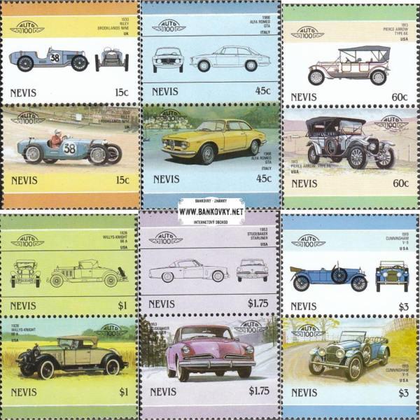 Známky Nevis 1986 Staré automobily
