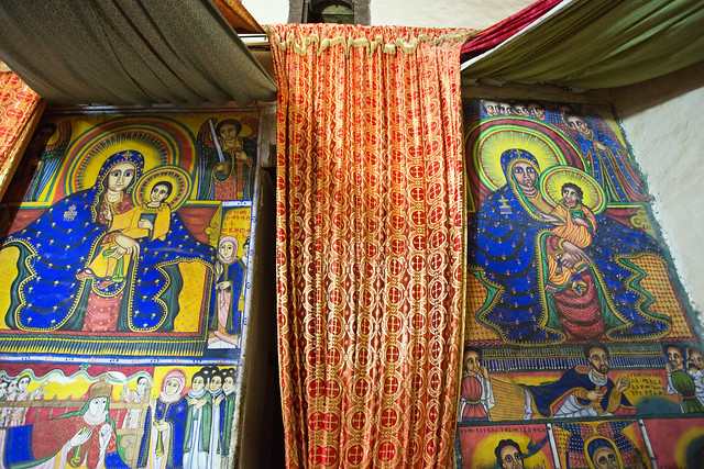 Inside the old cathedral of Our Lady Mary of Zion, Axum, Ethiopia