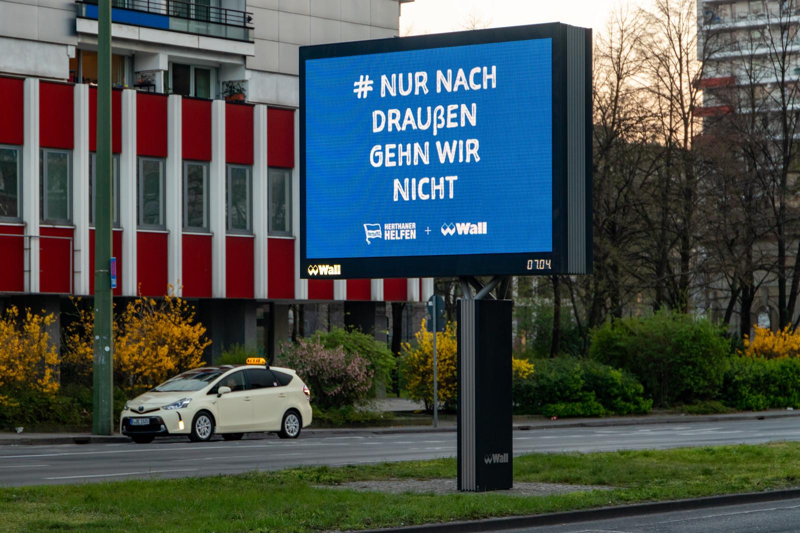 Hertha-Werbung in Corona-Zeiten