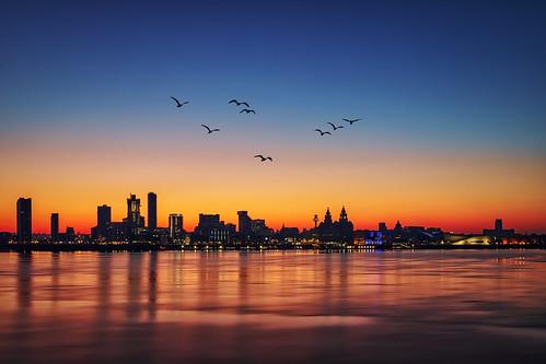 birkenhead england unitedkingdom liverpool sunrise cityscape river mersey threegraces