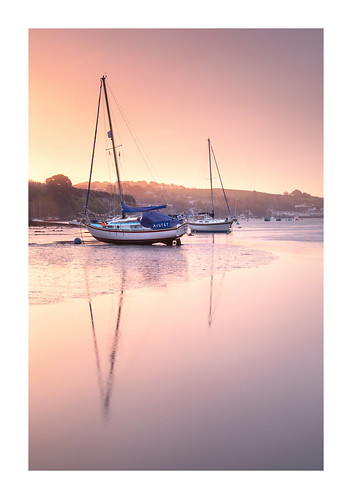 penryn river quay boats yachts water reflection dawn daybreak sunrise outdoor nature cornwall england uk gb masts april serene calm tranquil pastels soft subtle pink purple still lowtide