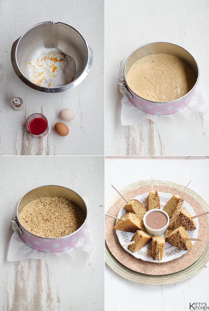 Torta di semolino e nocciole con salsa gianduia