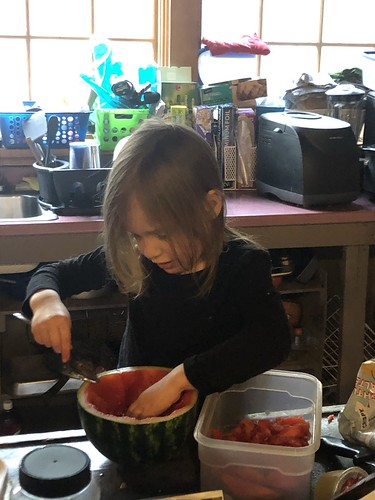 scooping watermelon