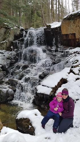 visiting a waterfall