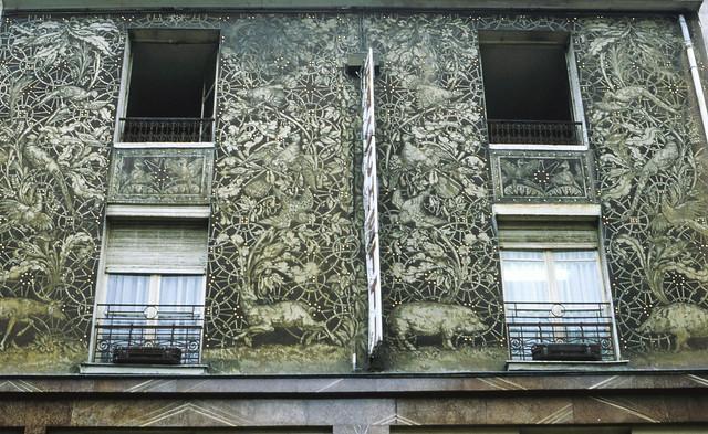 Decoration above shop, Rue Mouffetard, 5e, Paris 1984-paris249