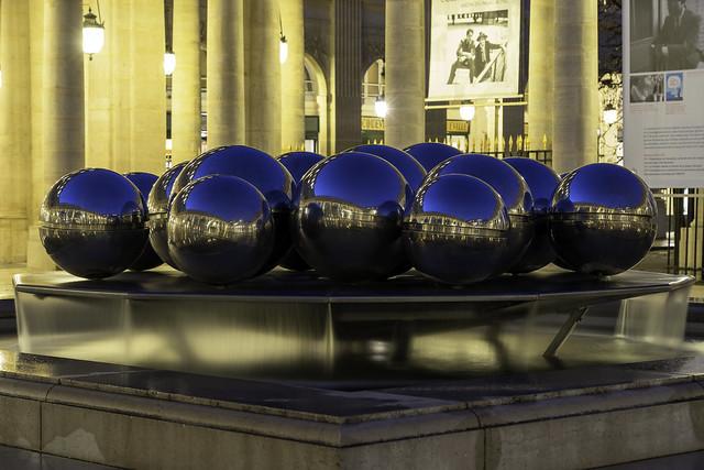 Palais Royal Pol Bury's Sphérades twin contemporary fountains with reflective spheres Paris France