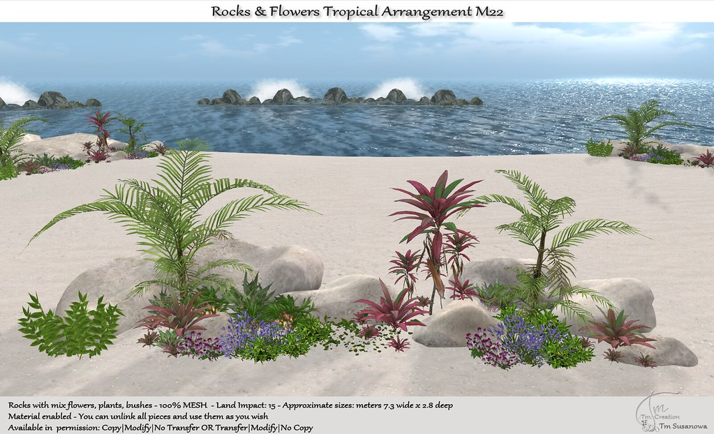 .:Tm:.Creation Tropical Flowers Rocks Arrangement M22