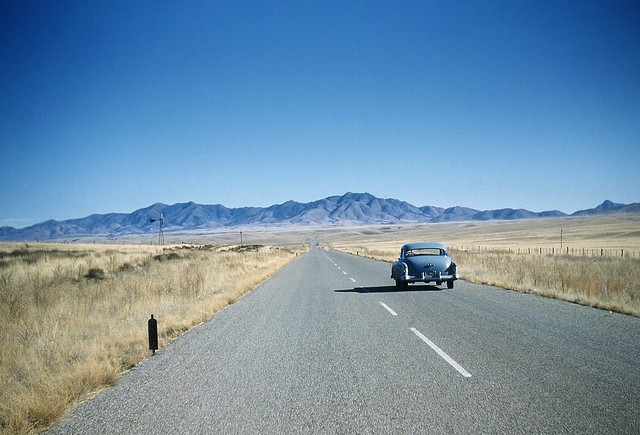 1951 Oldsmobile on Arizona highway. 1950's