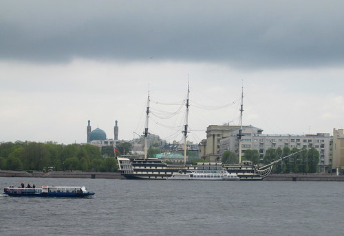 Ferry and Old Sailing Ship, St Petersburg