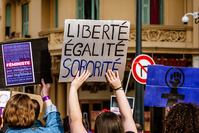 Nice, France - March 8, 2020: a demonstration for women's rights under the slogan 'On arrête toutes' ('We all stop') organised by Collectif droits des femmes 06 (Women's Rights Collective 06)