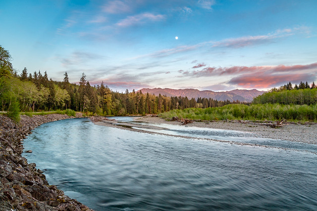Moonrise Over the Hoh River
