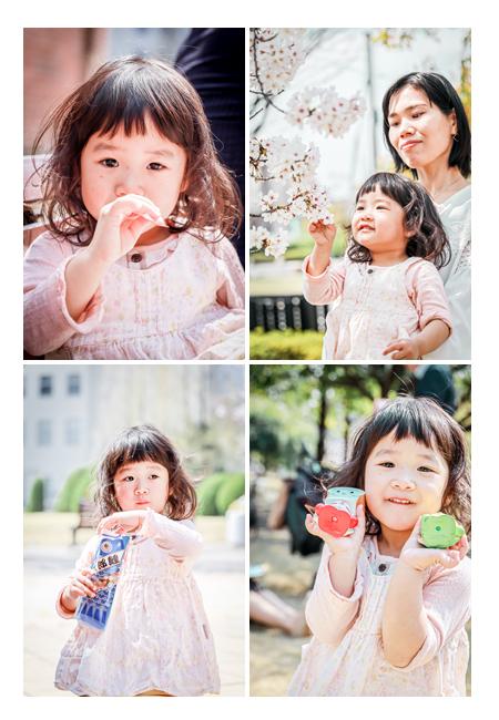 女の子のポートレイト写真 桜 アンパンマン