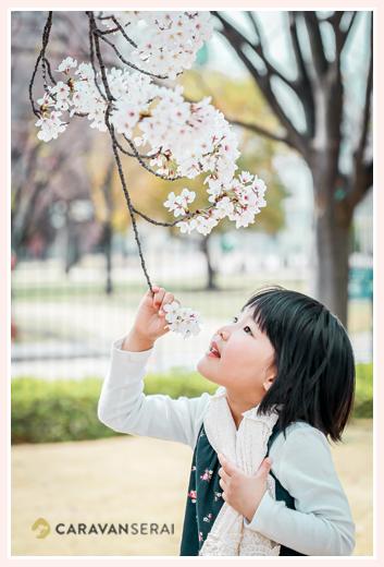少女のポートレイト写真 桜と一緒に