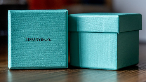 Teal Tiffany & Co Boxes, one upright, and one set on its side to show Tiffany & Co logo