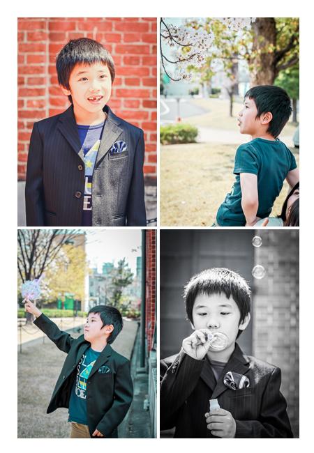 少年のポートレイト写真 桜 ジャケットを着て
