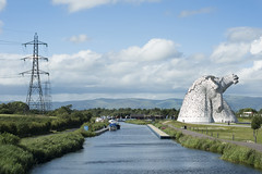 Clyde and Forth Canal Scotland with Kelpies sculpture