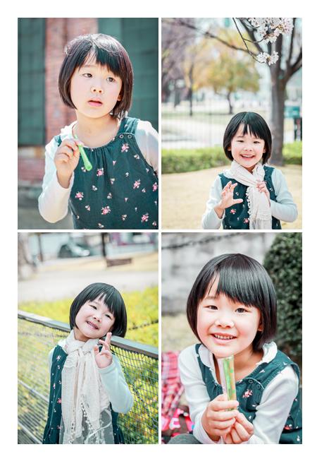 少女のポートレイト写真 シャボン玉 桜