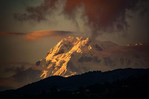 pokhara nepal himalayas annapurna sunset