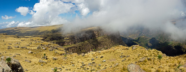 Pano on escarpments between Geech and Chennek camps, Simien mountains, Ethiopia