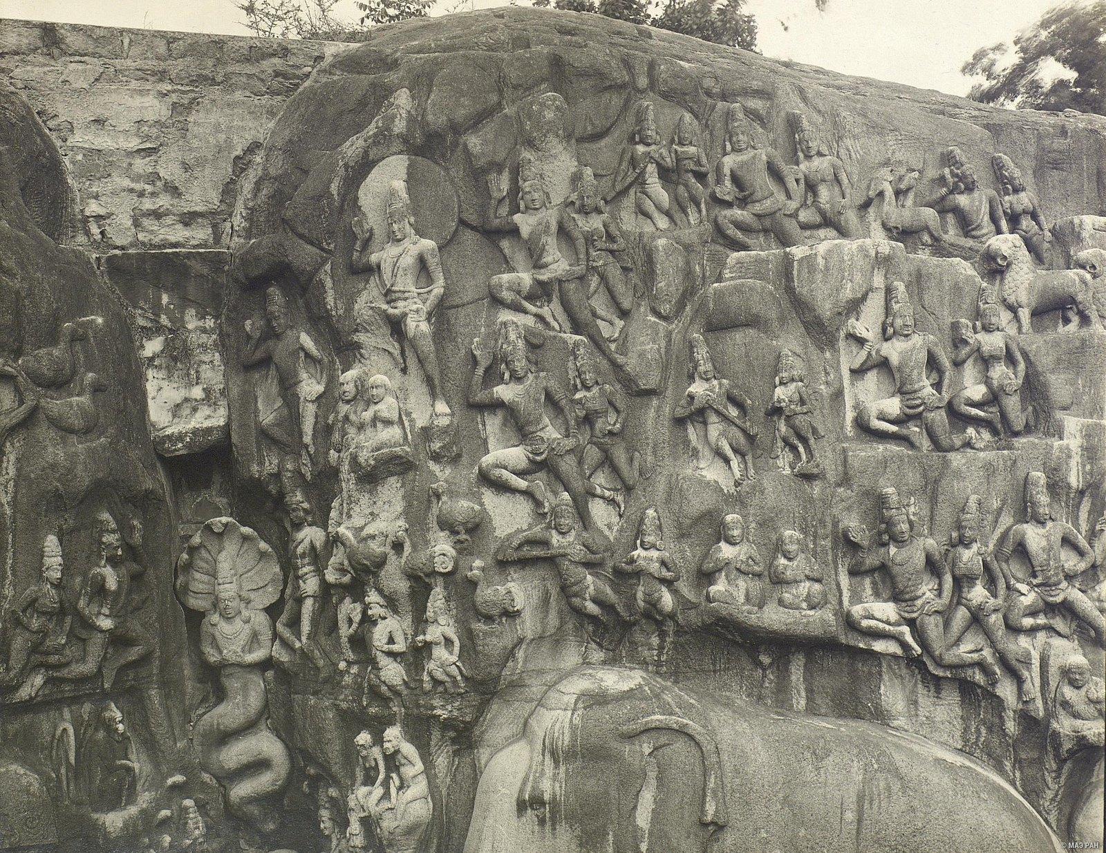 20. Мамаллапур (детали рельефа «Шива со свитой» и «Арджуна в подвижничестве»)