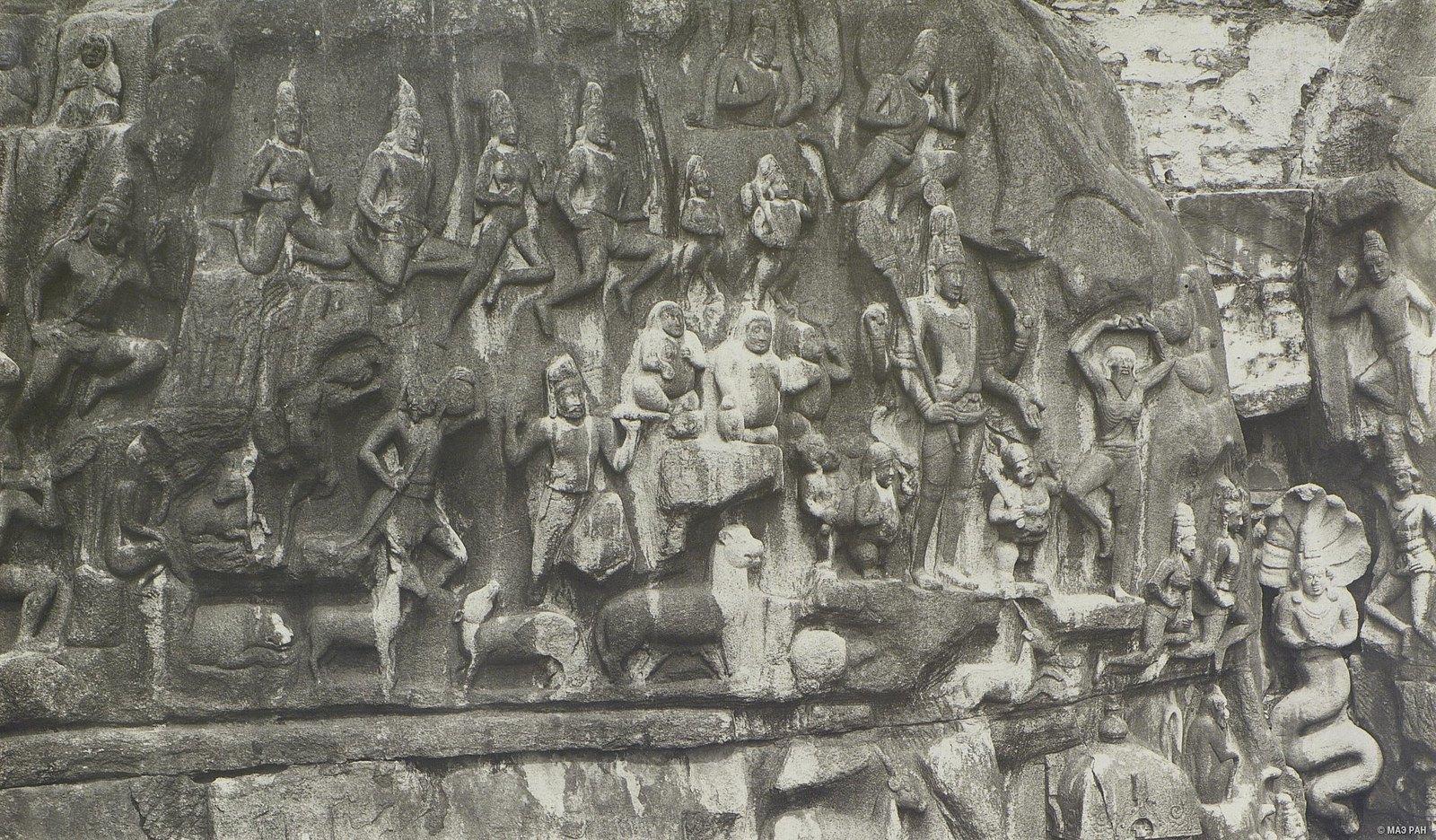 15. Мамаллапур (детали рельефа «Шива со свитой» и «Арджуна в подвижничестве»)