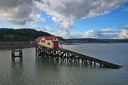 seaside sea seascape clouds lifeboat rnli water wales mumbles landscape nikon d800 buildings structure