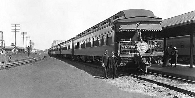 Atlantic Coast Line Railroad six car Tampa Special on a platform track at Tampa Union Station in Tampa, Florida ca late 1920's