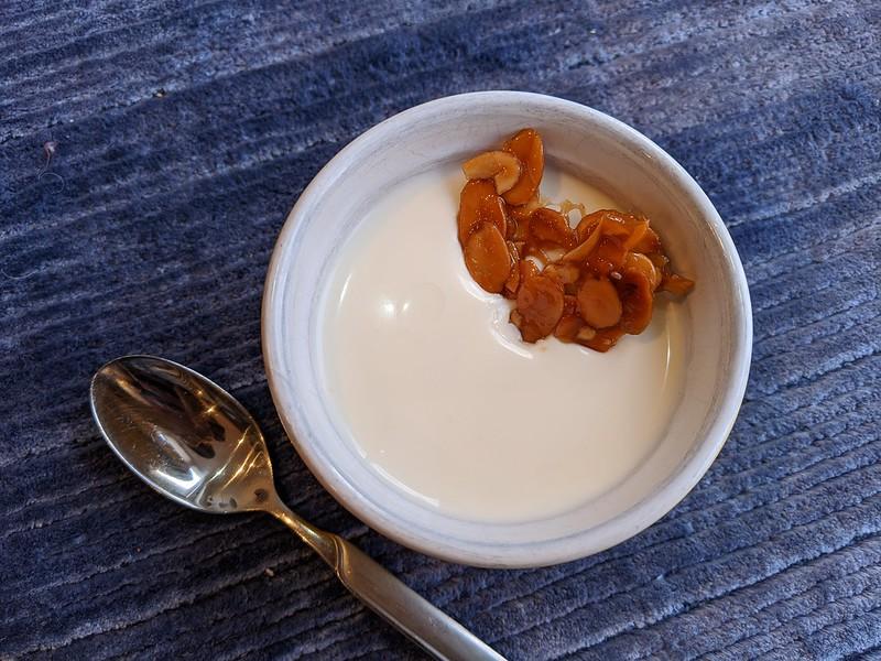 Buttermilk-Grapefruit Panna Cotta with Caramel-Coated Almonds