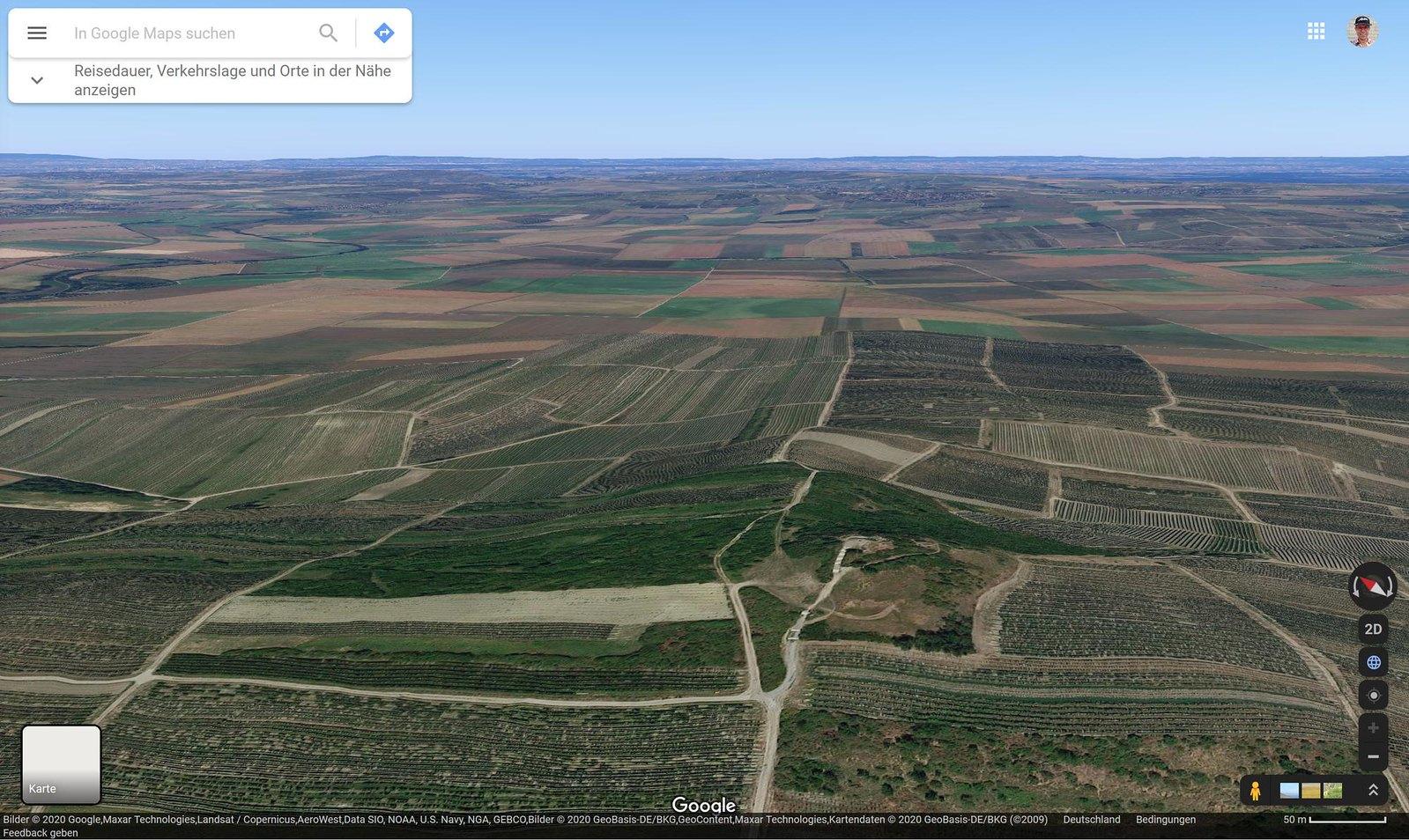 Google Maps 3D: Sonnenaufgang auf dem Petersberg