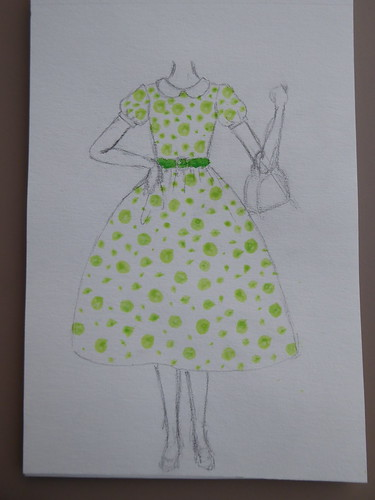 Dotted dress sketch