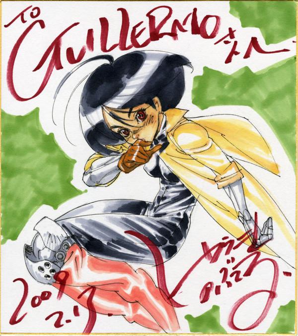 130915 - TOP繪金鑰~人物設計師「結城信輝」在12日:《銃夢》送給電影導演「葛雷摩·戴托羅」アリータ簽名板!