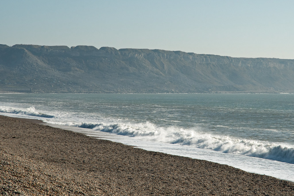 Chesil Beach, looking towards Isle of Portland