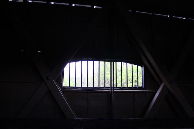 window inside of covered bridge