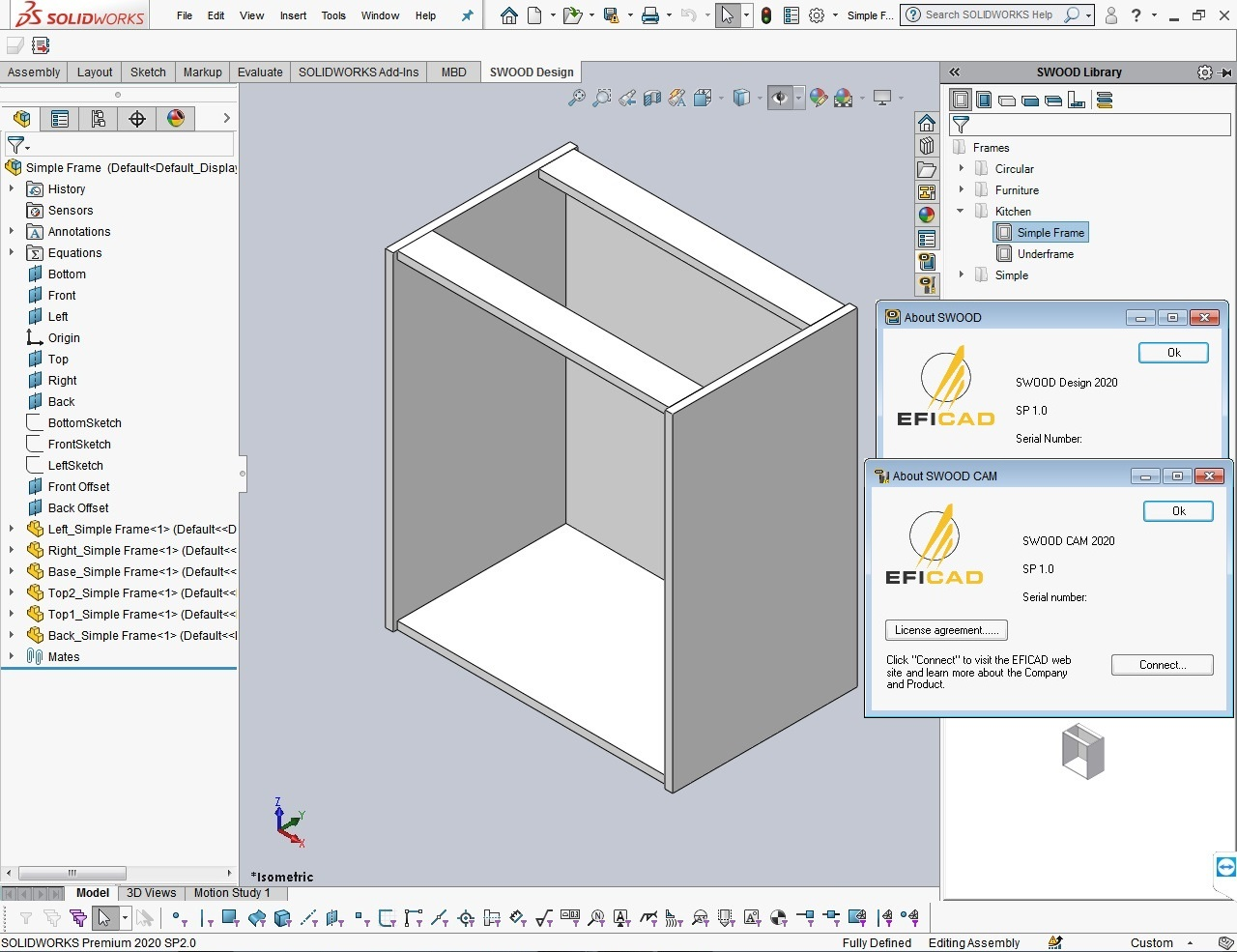 Working with EFICAD SWOOD 2020 SP1.0 for SolidWorks 2010-2020 full