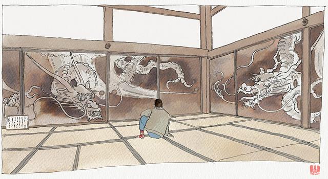 Japan, Kyoto, Kennin-ji temple, dragon mural