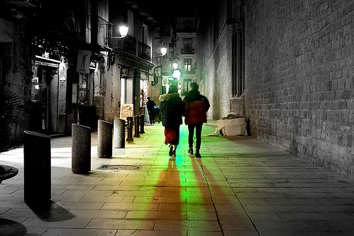 street road city walk paseo passeig church iglesia wall building architecture color colour dark light shadow shadows reflection night nightshot nightview outside outdoor