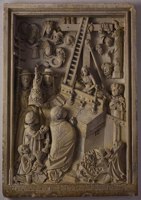 Legden, Westfalen, St. Brigida, monument to Johanna von Capelle †1476, with mass of pope Gregory