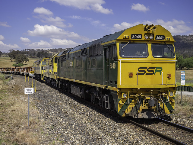 80 class locomotive 8049 seen here with loco's 4910 and 44204 at Tarana NSW 12-2018
