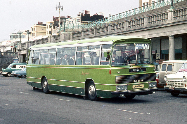 Southdown Motor Services . 1803 RUF803H . Madeira Drive , Brighton , Sussex . Saturday afternoon 18th-April-1970 .
