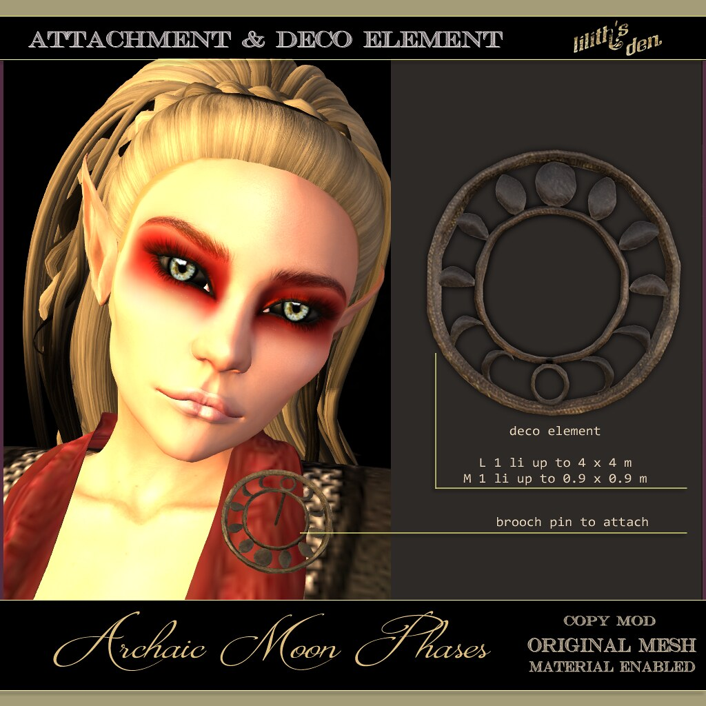 FF 2020 Exclusive: Lilith's Den – Archaic Moon – Brooch & Deco Element