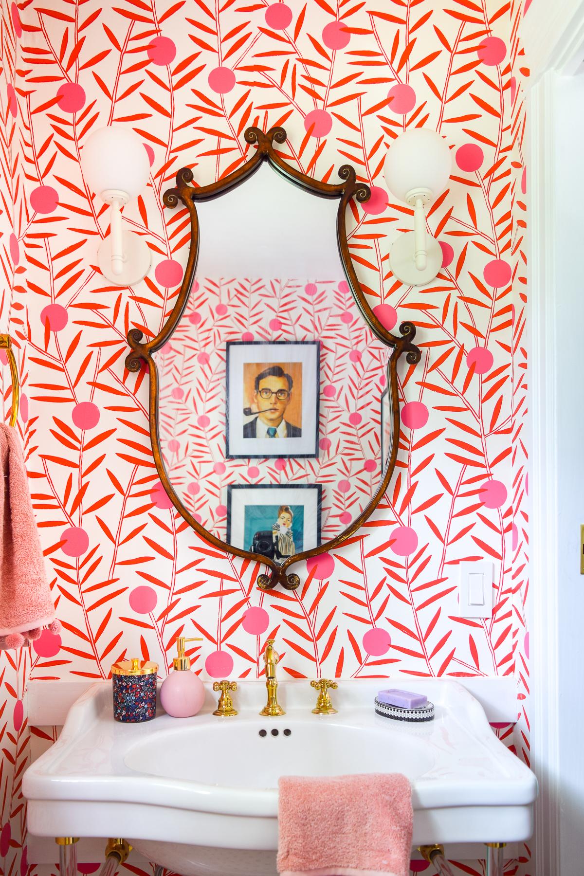 Colorful Pink Wallpaper | Colorful Powder Room | Wallpapered Bathroom | Small Bathroom Wallpaper | Half Bath Wallpaper