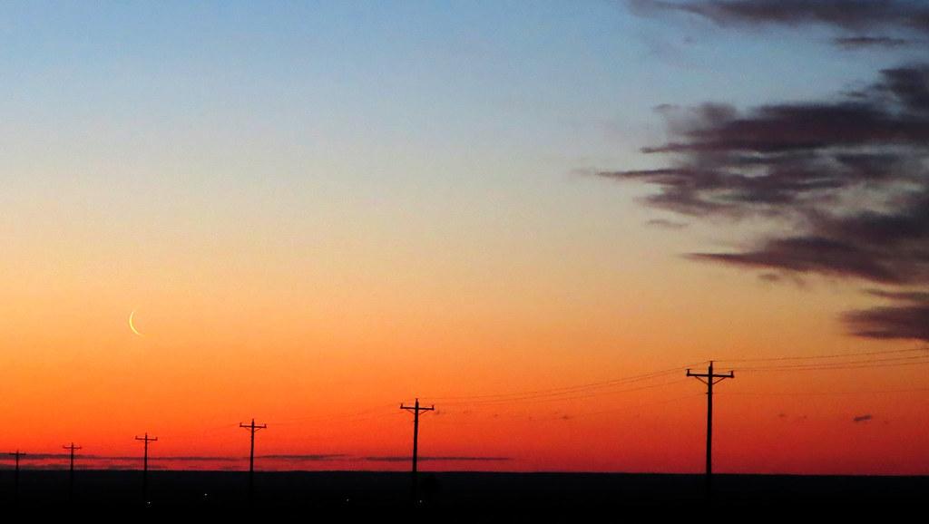Moon Sliver at Sunrise