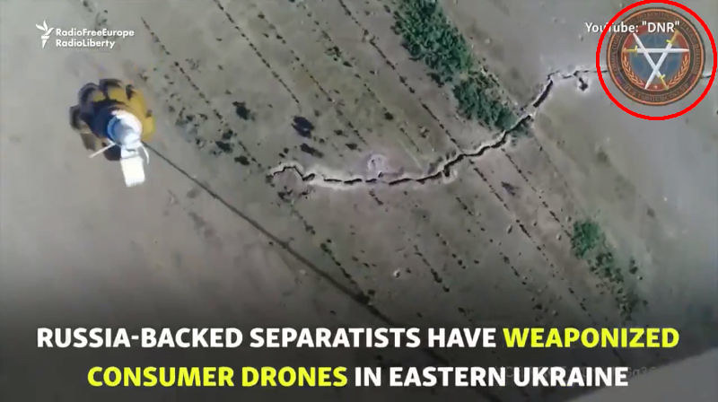 Screenshot of RFE-RL video showing allegedly DPR drones