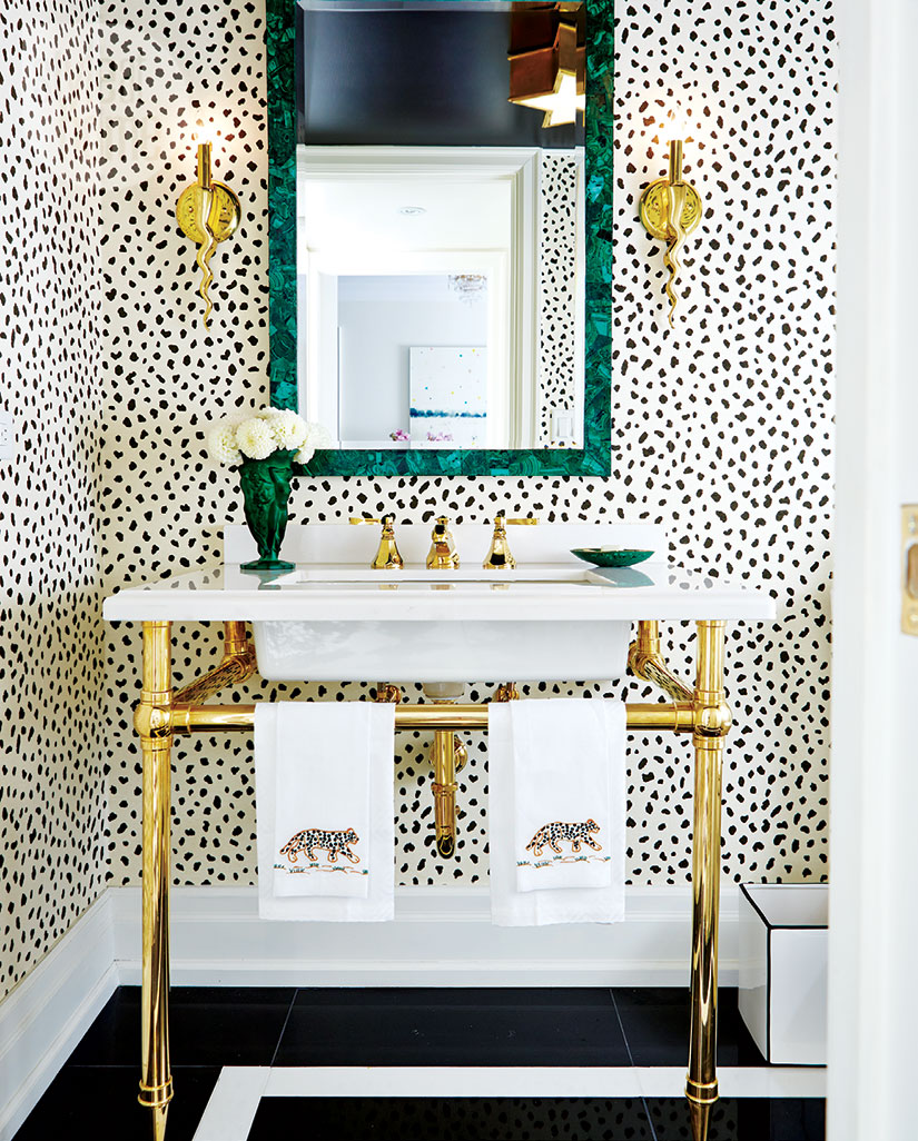 Eclectic Exotic Bathroom Ideas | Black and White Speckled Wallpaper | Gold Apothecary Sink Powder Room