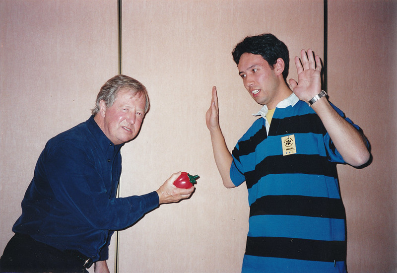 """with Tim Brooke-Taylor, at The Goodies """"Kitten Kon"""" convention, April 2000"""