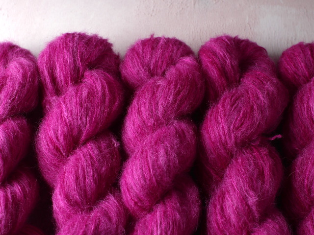 Fuzzy Lace – Brushed Baby Suri Alpaca and Silk hand dyed yarn 25g – 'Professor Plum'