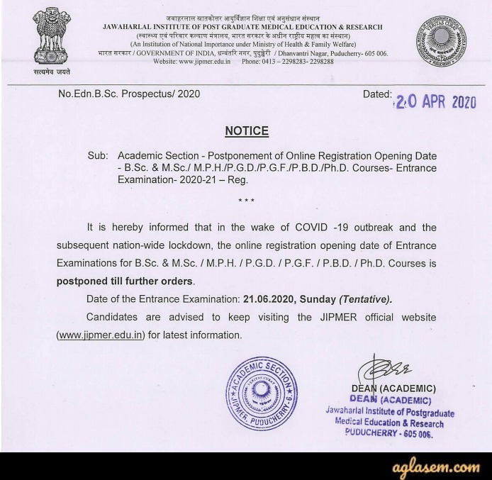 JIPMER M.Sc./PBD/M.P.H./Ph.D. Entrance Exam 2020 Registration - Postponed!